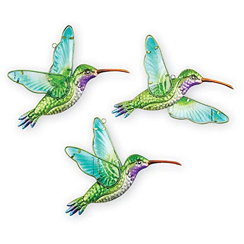 (Collections Etc Hummingbird Wall Art with Hand-Painted Stained Glass Wings and Colorful Metal Body - Set of 3, Indoor and Outdoor)