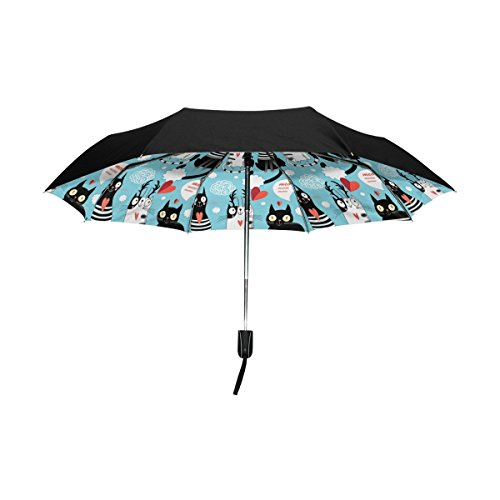 Cheap Aideess Outer Black Umbrella Bright Cat Lovers UV Anti Lightweight Parasol Elegant Reverse 3 folding Drop Sturdy Umbrella Special Gifts for Business & Personal