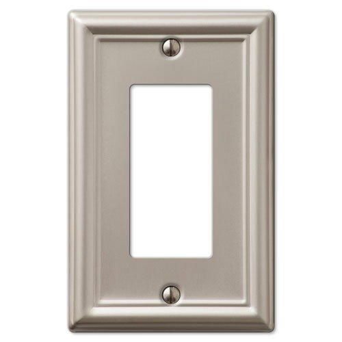 Decorative Wall Switch Outlet Cover Plates (Brushed Nickel, Rocker -