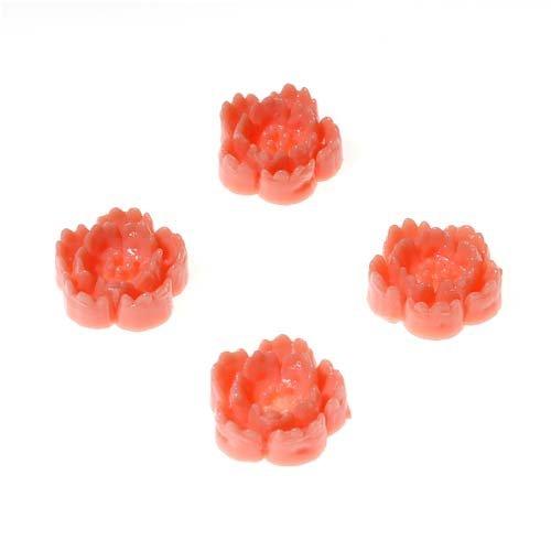 Beadaholique Lucite Cabochons Coral 3-D Cherry Blossom Flowers 9mm (4)