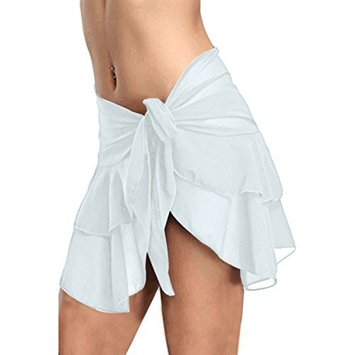 Toping Fine athletic-two-piece-swimsuits Seaside Sexy Transparent Irregular Skirt Strap Wild Beach Skirt,White,S