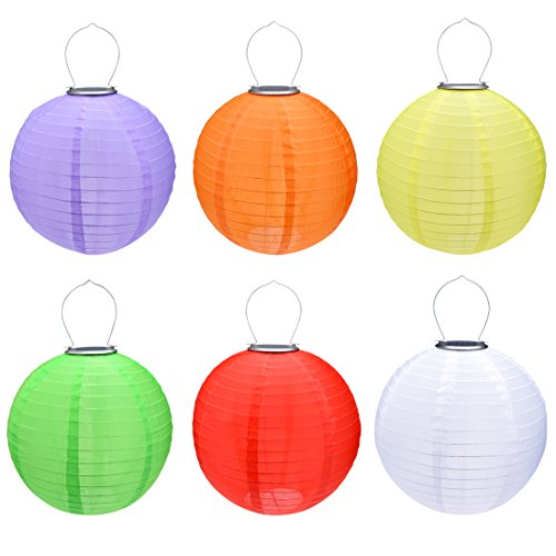 6 Packs Multi-Color 10'' Solar Powered Lanterns Hanging Solar Lamps for Garden by uxcell
