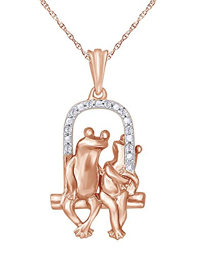 Diamond Accent Loving Frogs Pendant Necklace in 14K Gold Over Sterling (Diamond Frog Pendant)