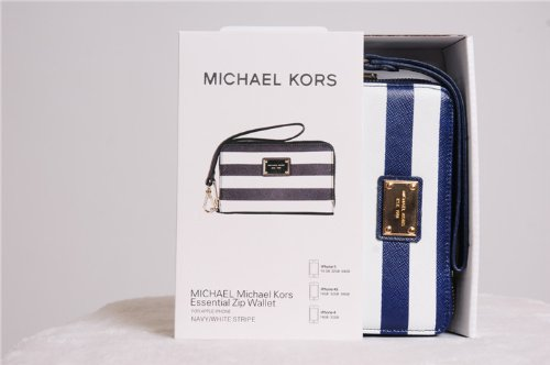 b7435602bc5929 Michael Kors Essential Zip Wallet for Iphone 5/4/4s Blue White Navy Stripe:  Amazon.co.uk: Electronics