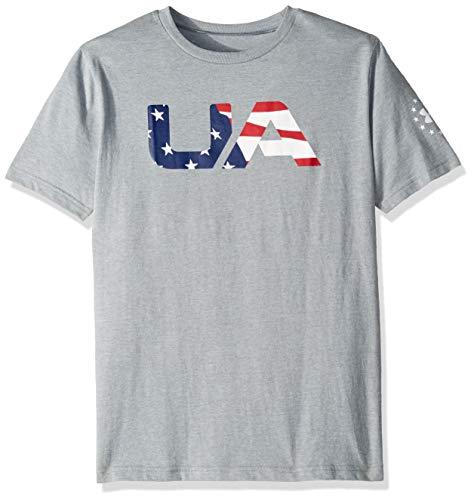 Under Armour Boys' Freedom Big Flag Logo T-Shirt, Steel Light Heather (035)/White, Youth Medium