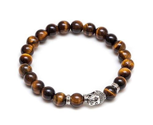 (ZENGER Jewlery Mens Vintage Buddha Beaded Stretch Bracelet - Natural 8mm Tigers Eyes Semi-Precious)
