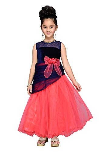 Aarika Girl's Peach & Blue Floral Design Gown (G-502-BLUE_38_14-15 Years) by Aarika