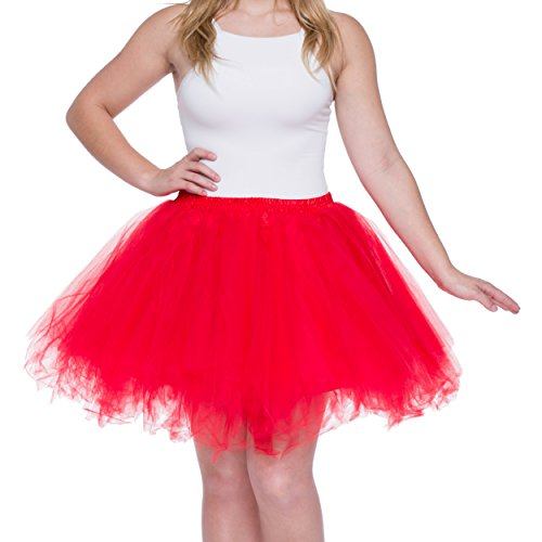 Dancina Women's Adult Vintage Petticoat Tulle Tutu Skirt [Sticker XL],Red,Regular Size -