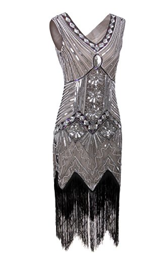 - Vijiv Women 1920s Gastby Sequin Art Nouveau Embellished Night Out & Cocktail Dress, Medium, Brown