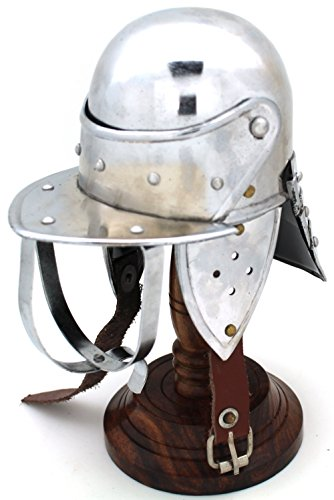 Medieval Warrior Brand 18 Gauge Steel Mini Display Helmet w/Helmet Stand (Lobster Tailed Pot Helmet)