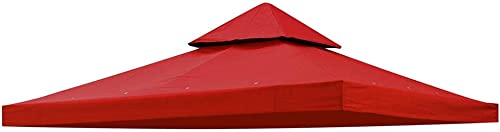 Instahibit 2 Tier 10' x 10' Replacement Gazebo Canopy Top UV30 200g/sqm Outdoor Patio Garden Cafe Yard Cover Red