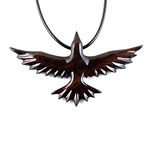 Soaring Raven Pendant Necklace Totem Bird Jewelry Hand Carved in Desert ()