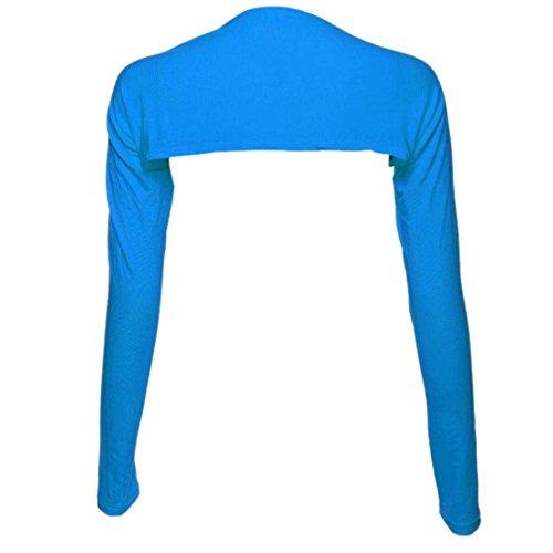 Libero Giacca Fashion Alzata Spalle Spalla Corto Lunghe See Tops Di Tempo Colore Bolero Eleganti Blauer Damigella Shirts Donna Maniche Puro Camicetta Adelina xqntUwOBa4