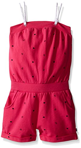 Nautica Little Girls' Printed Pique Romper with Grommet and Double Rope Straps Detail, Fuchsia, 6X
