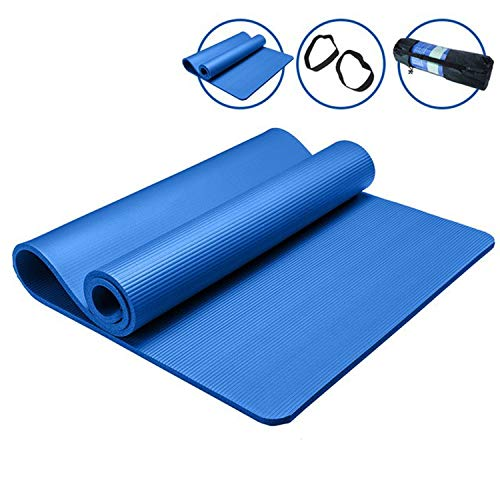 New Exercise Mat 10/15 mm Thick Non-Slip Carpet Pilates Yoga Lose Weight Exercise Carpets Foldable Fitness Rug for Fitness,Blue and net Bag,1850mm 800mm 15mm