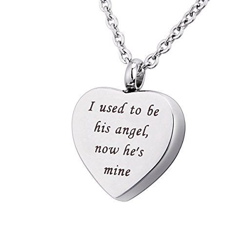BY Cremation Jewelry Urn Necklace for Ashes Engraved Keepsake Memorial Pendant (I Used to be his Angle)