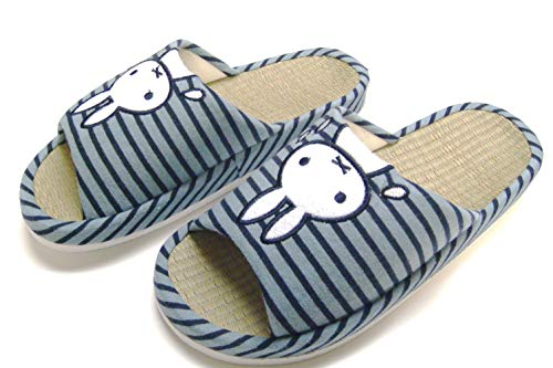 House Slippers Arch Support Wide Width Natural Bamboo Insole Rabbit Indoor use Slippers (L(9-10)/39-40 L EU, Blue)