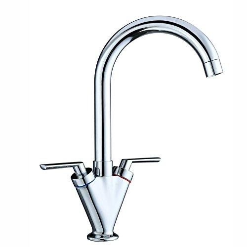 Funime Kitchen Sink Mixer Taps Monobloc Swivel Spout Chrome Brass Dual...