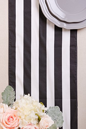 Ling's moment Classic 1 Inch Black and White Striped Table Runner, 12 x 72 Inches, 100% Cotton Machine Washable Colorfast by Ling's moment (Image #3)