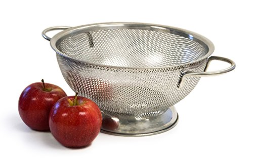 Culina 3QT Precision Perforation Stainless Steel Colander with Handles and sheet base