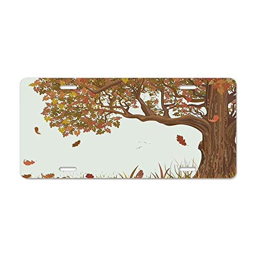 (Tree Life Autumn Season Fall Shady Deciduous Oak Leaves in Park Countryside Artwork Umber Redwood Customized License Plate Cover Aluminum Metal Car Licenses Plate Frame Holder For US Vehicles)
