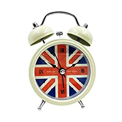 2.5 Small Loud Alarm Clock Hippih Non-ticking Quartz Analog Vintage Old Fashioned Desk Clock with Backlight and Battery Operated for Kids, Heavy Sleepers (Beige, British)