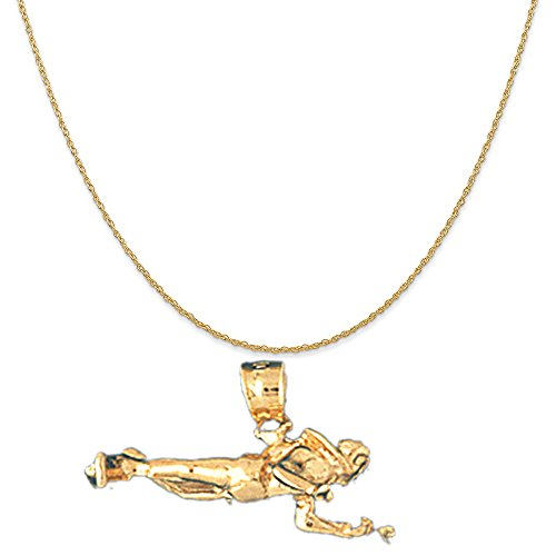 14k Yellow Gold 3-D Scuba Diver Pendant on a 14K Yellow Gold Carded Rope Chain Necklace, 18'' by Eaton Creek Collection