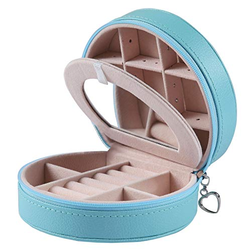for Women | (Fountain Blue) | Portable Jewelry, Earring Holder and Ring Storage Case for Travel with Compartment Organizer ()
