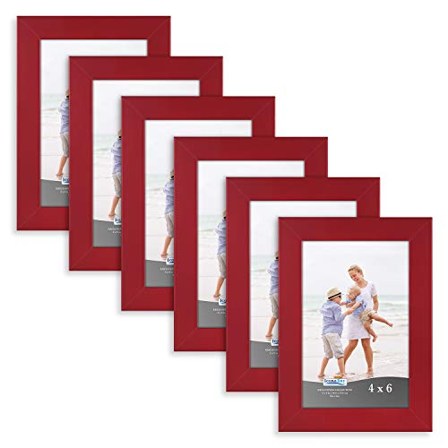 Icona Bay 4x6 Picture Frame (6 Pack, Red), Red Sturdy Wood Composite Photo Frame 4 x 6, Wall or Table Mount, Set of 6 Exclusives - Red Frame Picture