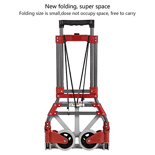 Coocheer Aluminum Folding Portable Luggage Cart Lightweight Travel Hand Truck/Heavy Duty Hand Trucks (165 LBS)