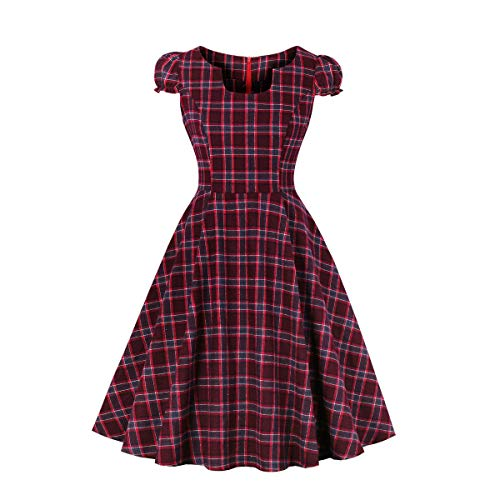 - Wellwits Women's Slot Neck Puffed Cap Sleeve Check Plaid Vintage Swing Dress L