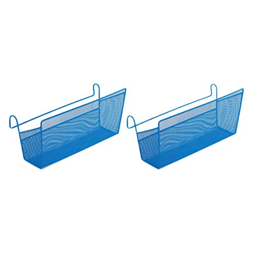 Single Bookcase Headboard Beds (Shelf Baskets, Peleustech 2PCS Dormitory Bedside Hanging Storage Desktop Corner Shelves Basket Holder Containers Space Saver for Book Phone Magazine Holder - Blue)
