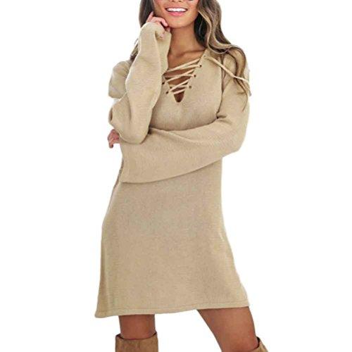 Cheap Dressing Up Ideas (Gillberry Women Fashion Bandage Sexy Long Sleeve Dress Casual V-neck Dress (XL, Khaki))
