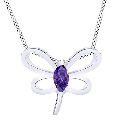 - Wishrocks Simulated Amethyst Butterfly Pendant Necklace 14K White Gold Over Sterling Silver