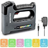 WORKPRO 6 in 1 Cordless Staple Gun, 3.6V Rechargeable Upholstery Electric Stapler/Brad Nailer for Home Material Repair, Decoration, Furniture DIY, Carpentry, Carpeting, Charger Included