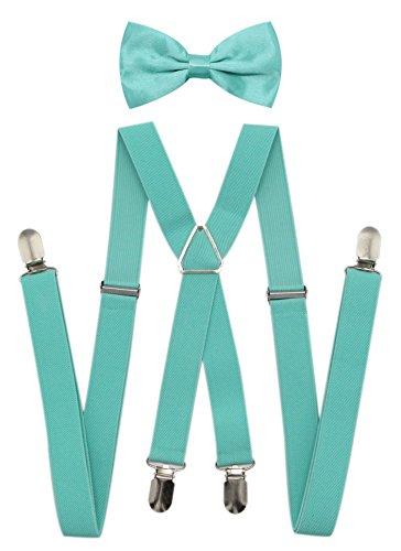JAIFEI Men's X Back Suspenders & Bowtie Set - Perfect For Weddings & Formal Events (Teal) -