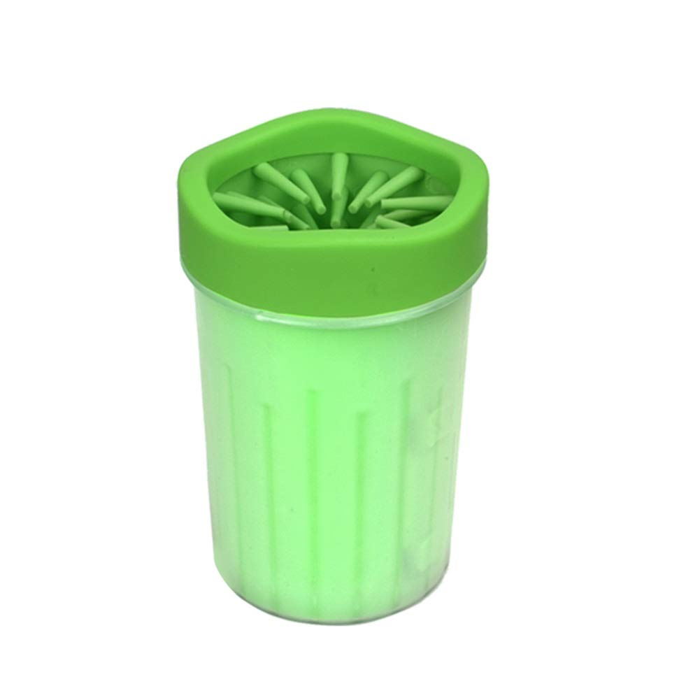 GREEN L-9.515cm 3.75.9in GREEN L-9.515cm 3.75.9in Dog Foot Cup, Portable Brush Cup Pet Paw Washing Foot Cleaner Wash for Cleaning Dirty Feet for Teddy golden Hair Dog Cleaning Supplies (color   Green, Size   L-9.5  15cm 3.7  5.9in)