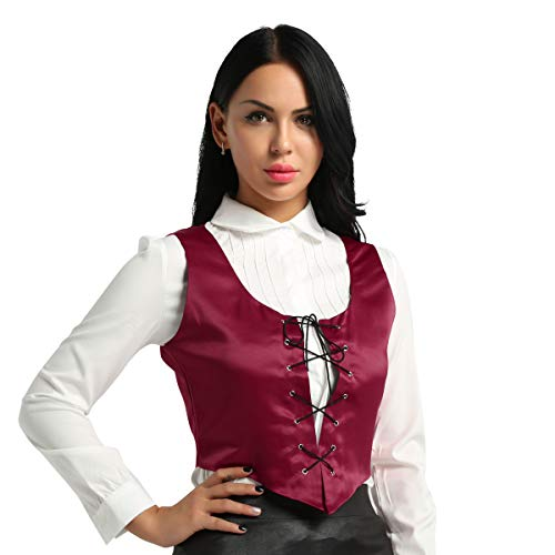 Freebily Women Renaissance Wench Halloween Costume Reversible Peasant Bodice Lace Up Vest Top Wine Red XX-Large - Bodice Pirate