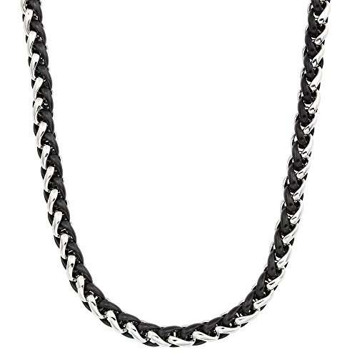 Mens Two-tone Stainless Steel 24-inch Wheat Chain Necklace (Men Two Tone Necklaces)
