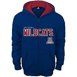 NCAA Arizona Wildcats Boys Stated Full Zip Hoodie, Small (8), Dark Navy