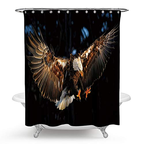 ANAZOZ Polyester Mildew Resistant Bath Curtain Eagle Colorful Waterproof Antibacterial Bathroom Shower Curtains with Hooks 180X180CM for $<!--$20.99-->