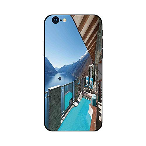 (Phone Case Compatible with iphone6 Plus iphone6s Plus mobile phone protecting shell Brandnew Tempered Glass Backplane,House Decor,Terrace with Pool and Lake View Luxury House Balcony Leisure Dream Vac)