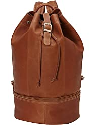 Piel Leather Navy Drawstring Backpack, Saddle, One Size