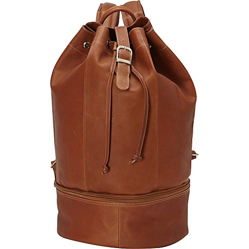 Piel Leather Navy Drawstring Backpack, Saddle, One Size by Piel Leather