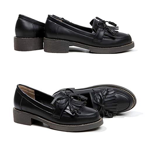 Zapatos Planos Black Mujeres Confort Trabajo Señoras De Oficina Borla Conducción Mocasín Mocasines Las 0RaqxBqd