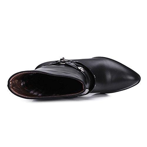 Ei&iLI Rivets de chaussures femmes haut talon bottes / a souligné Toe High Boots Dress , black , 37