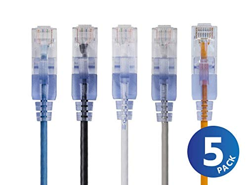Monoprice Cat6A Ethernet Network Patch Cable - 20 Feet - Multi Color | 5-Pack, 10G - SlimRun Series