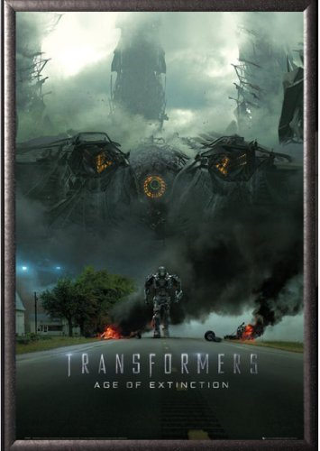 Framed Transformers 4: Age Of Extinction 24x36 Poster In Silver Finish Wood Frame Movie Art Print (Imax Teaser) ()