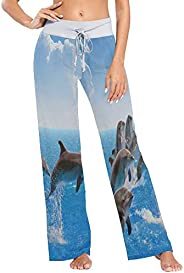 Womens Pajama Lounge Pants Jumping Dolphin Wide Leg Casual Palazzo Pj Sleep Pants Laides