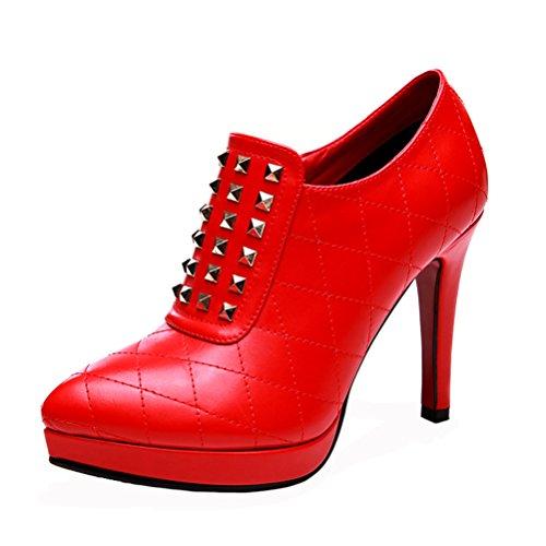 Fashion Shoe Elegant Leather Women Black Heel Dress Red DUNHU Stiletto Red Shoe 45UwnFq